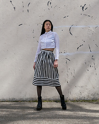 Gi Shieh - H&M White Button Down, Topshop Black And White Striped Skirt, H&M Fishnet Tights, Aldo Black Platform Boots - Monochrome?!
