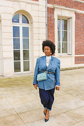 Laura Owusu - Zara Slouchy Blue Denim, Lalla's Shop Blue Oversized Blazer, Kiabi Lace Blouse, Christian Lacroix Mini Purse - The blue oversized blazer