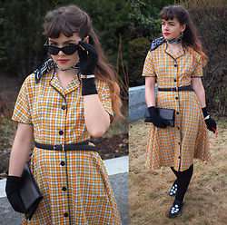 Siri ♧ - Vintage Dress, Vintage Scarf, Wego Belt, Enzopoli Purse, Tokyo Bopper Shoes, Monki Sunglasses - Orange plaid dress