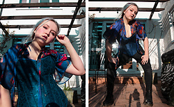 Izzy McLeod - Oxfam Blue Corset, Blue Floral Bodysuit, Black Coated Jeans, Long Doc Martens - Corset Up