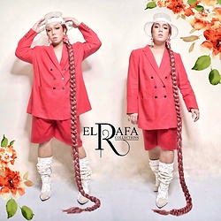 Rafa Concepcion - El Rafa Pvc Hat, Sm Accessories Flower Earrings, El Rafa Wig, El Rafa Blazer, El Rafa Shorts, Forever 21 Velvet Boots - 🌸 WILD FLOWER 🌸