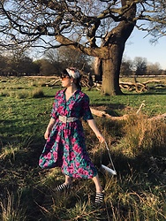 Weronika Bukowczan - Vintage Floral Midi Tea Dress, Polka Dot Fabric Wide Belt, Marks & Spencer Floral Silk Scarf - Sunshine state of mind