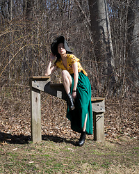 Gi Shieh - Forever 21, Purchased 2012 Black Hat, H&M, Purchased 2018 Yellow Wrap Dress, Forever 21, Purchased 2016⁣ Emerald Slit Skirt, Aldo, Purchased 2016 Black Platform Boots - Vibrant Colors for Spring?!