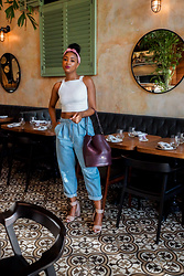 Ria Michelle - Asos See You Never Bow Back Cami, Cult Gaia Turband, Asos White Denim Jean With Tie Waistband In Light Blue Wash, Dagne Dover The Ava Bucket Bag In Oxblood - Tote 'Em - My Favorite Carry All Bag