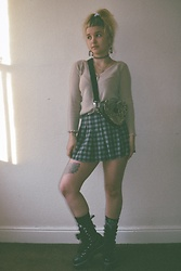 Estephanie C - Skirt, Lazy Oaf Bag, Dr. Martens Boots, Vintage Top - Be kind
