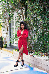Ria Michelle - Missguided Wrap Dress, Celine Ankle Strap Heels - Lady in A Red Wrap Dress