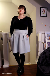 Gina S. - Madewell Puff Sleeve Blouse, Loft Skirt, Mix No. 6 Patent Heels - Modern Sailor Mercury