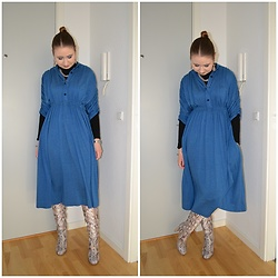 Mucha Lucha - Made By My Grandmother Dress, H&M Roll Neck Top, Asos Boots - Comfy dress