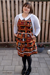Gina S. - Retrolicious Cats On Bookshelves Dress, Old Navy Cardigan, Mix No 6 Chunky Heels - Cats & books.