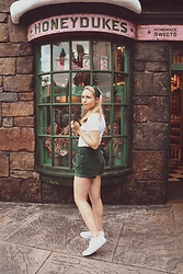 Katie Williams - Free People Green Shorts, Converse Trainers - Honey Dukes