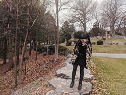 Samantha Elise - Primark Faux Fur Coat, Overalls Dress (Corduroy), Dr. Martens 20 Eye Boots, Firmoo Black Frames - Cemetery Hangs