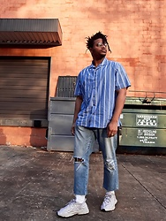 Jason - Adidas Clear Granite, Gap Pinstripe Button Up - Beamin