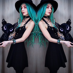 Kimi Peri - Killstar Sergeants Skater Dress, Killstar Choker, Donalovehair Blue Hair, Killstar Omen Sigil Fedora Hat, Killstar Skeleton Key Necklace - The Key Keeper