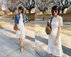 Daisyline . - Reserved Dress, Mango Bag, Mango Jacket, Ray Ban Sunnies - Denim jacket & midi dress / IG: daisylineblog