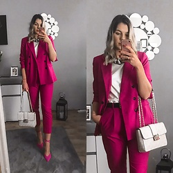 Zuza - Mango Suit, Zara Heels, Guess Bag - Happy pink Easter