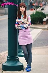 Bleu Avenue Ofbleuavenue - Shein Comic Print Top, Shein Lilac Wool Skirt, Charlotte Russe Electric Blue Flats - Comic Prints