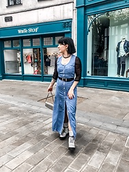 Weronika Bukowczan - Vintage Blue Denim Maxi Dress, Deichmann Studded White Lace Up Boots, Primark Sheer Black Bodysuit, Vintage Leather Black Waist Belt - From Mum's Closet