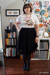 Gina S. - Boredwalk Hell Is Other People T Shirt, Thredup Tulle Skirt, Dsw Lug Sole Boots, Stella & Dot Pink Chevron Necklace - Tulle & Combat Boots