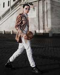 Charles Sumithio - Mcm Bag, Dr. Martens High Boots, Fashiontv Eyewear Cateye Sunnies - Charles Sumithio in White & Brown