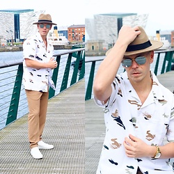 A'la mode garçon - River Island Hat, Ray Ban Sunglasses, Nicce Shirt, Guess Watch, Zara Trousers, Acne Studios Shoes - Genetics / Ala Mode Garçon