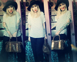 Serena Toxicat - Thrifted Vintage Felt, Sequined, Embellished, Wide Brim Felt Floppy Hat, Colette Cold Shoulder Striped Boat Top, Tory Burch Stud Satchel Bag,, Stella Mccartney Black Wide Leg Wool Pants - (Don't) Rock the Boat Shirt
