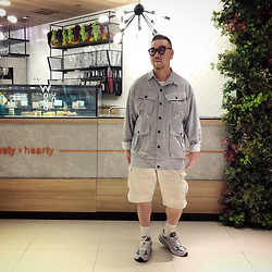 Mannix Lo - Online Shop Stripes Hunting Jacket, Uniqlo Cargo Shorts, New Balance 993 Sneakers - Please don't plant your love in a heart, that has no sun