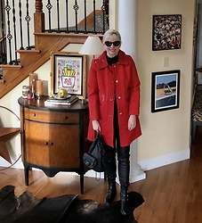 Shannon D - Marc By Jacobs Red Trenchcoat, Chanel Black Leather Backpack, Stuart Weitzman Boots, Prada Sunglasses - Marc Jacobs Red Trenchcoat