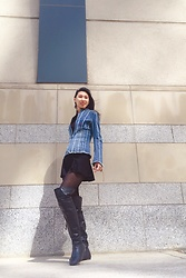 Lyelle - Aritzia Short Black Dress, Parasuco Denim Jacket, Over The Knee Boots - Elegant Jean Jacket with Tall Boots