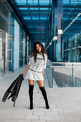 Ria Michelle - Missguided Grey Ramones T Shirt Dress, Diesel L Golnar Leather Jacket, Ted & Muffy Empress Over The Knee Boot - Hopped Up and Ready to Go