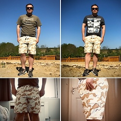 Mark Foote - Topman Camo Shorts, Unknown T Shirt, Adidas Trainers, Gifted T Shirt - Lockdown in the warzone (aka garden)
