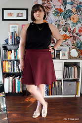 Gina S. - Loft Tank Top, Gap Skirt, Modcloth Rose Gold Oxfords - Rose gold