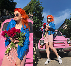 Vlada Kozachyshche - Mango Leather Jacket, Forever 21 Dress, Adidas Sneakers - Peonies