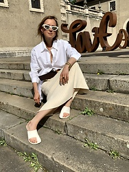Anna Borisovna - Mos Mosh Shirt, Ivy Oak Skirt, Céline Shoes, Céline Sunglasses - Shades of Cream