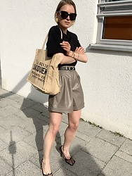 Anna Borisovna - Céline Sunglasses, H&M Shirt, Jacquemus Bag, Massimo Dutti Belt, Massimo Dutti Short, Bottega Veneta Shoes - The Leather Shorts