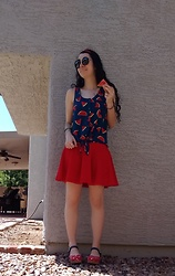 Saguaro Style - Marshall's Watermelon Print Top, Urban Outfitters Red Circle Skirt, Sven Clogs Liberty - 4.19.20