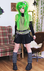 Lovely Blasphemy - Dolls Kill Neon Mesh Shirt, Killstar Belt, Demonia Black Platform Boots - Emo