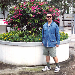 Mannix Lo - Online Shop Patchwork Denim Coverall, Uniqlo Cargo Shorts, New Balance 997h Sneakers - To change your life, you need to change your priorities