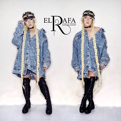 Rafa Concepcion - El Rafa Leather Strap Cap, El Rafa Oversized Denim Jacket, Forever 21 Thigh High Boots - SAILOR MOON ONCE A BITCH