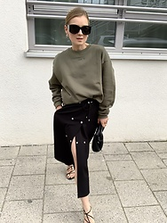 Anna Borisovna - Mango Sunglasses, Fritz The Label Sweater, Inwear Skirt, Arket Bag, Mango Shoes - The Khaki Sweater