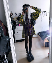 Kimi Peri - Na Kd Chained Waist Bag, Demonia Platform Boots Ashes 55, Underground Safety Pin Beret, You Are My Poison Studded Harness, You Are My Poison Oversized Plaid Multicolor Shirt, Black Tights - Purple & Yellow Plaid