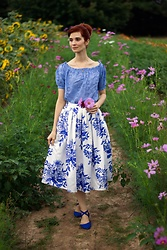 Bleu Avenue Ofbleuavenue - Chic Wish Blue White Floral Printed Midi Skirt, Shein Blue Eyelet Cotton Top - Spring Midi Skirt