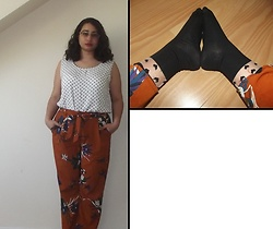Selina - Vintage Sale Polka Dot Top, Asos Floral Trousers, Poundshop Heart Print Socks - We're like rain and stormy weather, me and I