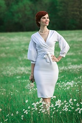 Bleu Avenue - Femme Luxe White Belted Bodycon Midi Dress Angelica - Little White Dresses and Wedding Ideas