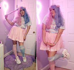 PastelKawaii Barbie - Honey Bear Designs Blue Baby Doll Tee, Glitters For Dinner Pink Cheerleader Skirt, Kawaiiocean Iridescent Transparent Heart Belt, Amazon Iridescent Heart Sunglasses, Ebay Heart Chucky Platform Sneakers, Chrissy's Sock Blue Striped Otk Socks, Ebay Pink Otk Striped Sock, Ebay Heart Blue Pink Choker, Hot Topic Blue Pink Fluffy Scrunchies - ☁️Cotton Candy Clouds☁️