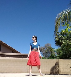 Saguaro Style - Back To The Future Vintage Tee, Ann Taylor Loft Orange Midi Skirt, Sven Clogs Silver Bow Tie - 04.26.20