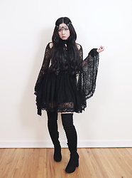 Lovely Blasphemy - Dolls Kill Headdress, Killstar She's Stardust Lace Dress, Dolls Kill Baddie Bae Thigh High Boots - The question is not what you look at but what you see