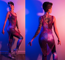 Carolyn W - Femme Luxe Sparkly Dress, Black Milk Clothing Purple Galaxy, Urban Outfitters Silver - Glitter & Glam