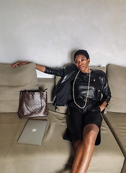 PAMELA - Chanel Leather Jacket, Louis Vuitton Shoulder Bag, Topshop Leather Bermuda Shorts, Zara Leather Top - All Leather Everything