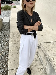 Anna Borisovna - Inwear Sweater, Vintage Pants, Mango Belt, Other Stories Loafer, H&M Earrings - Grey & White