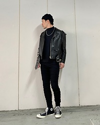 ★masaki★ - Balenciaga Leather Jacket, R13 Denim Jeans, Converse Ct70, Vitaly Necklace - Black Fits